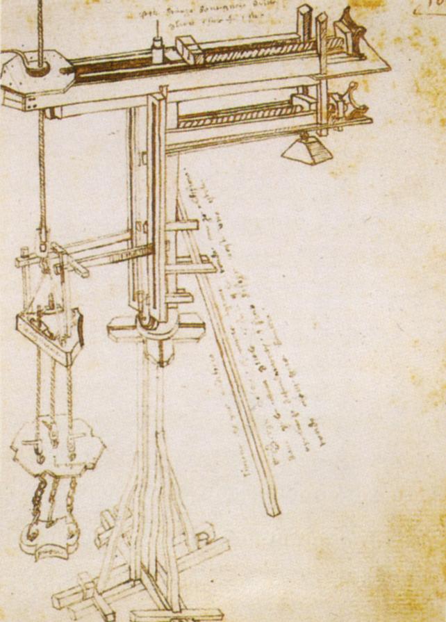 Bonaccorso Ghiberti, La gru di Brunelleschi (dopo il 1446; Firenze, Biblioteca Nazionale Centrale, B.R. 228, c. 106r)