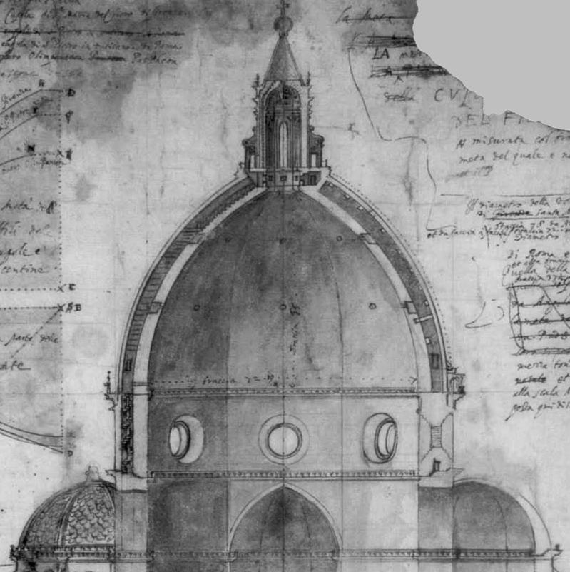 Sezione della Cupola disegnata da Ludovico Cardi, detto il Cigoli, nel 1613