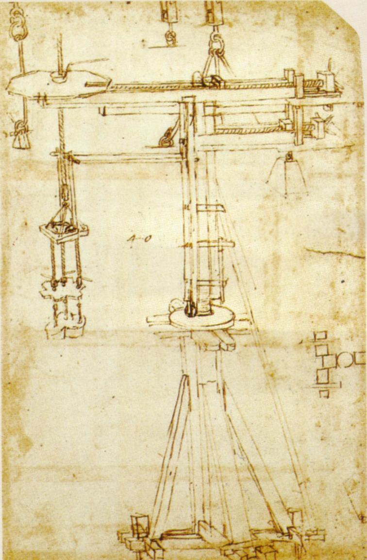 Leonardo da Vinci, Gru girevole di Brunelleschi (1480 circa; Milano, Biblioteca Ambrosiana, Codice Atlantico, c. 965, recto)