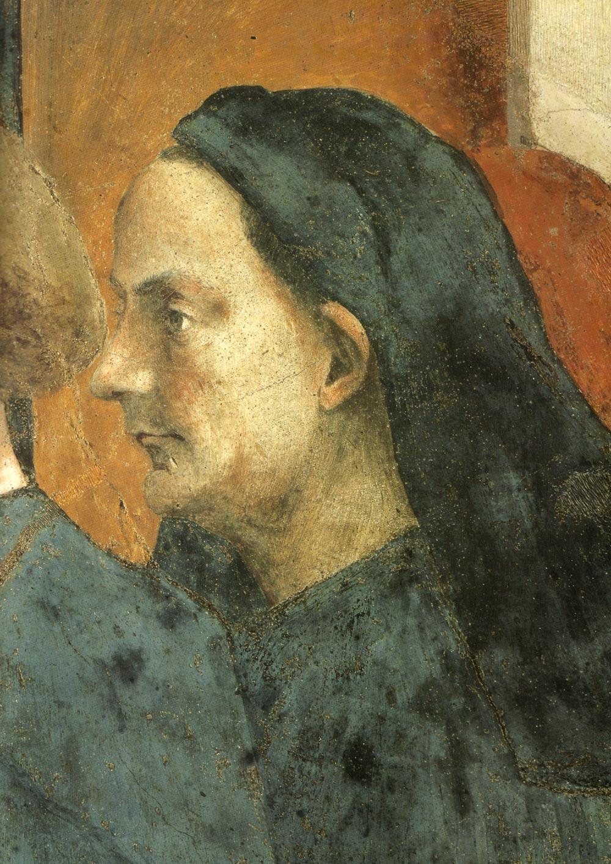 Probabile ritratto di Filippo Brunelleschi nella scena del San Pietro in cattedra di Masaccio (1423) nella Cappella Brancacci, Firenze