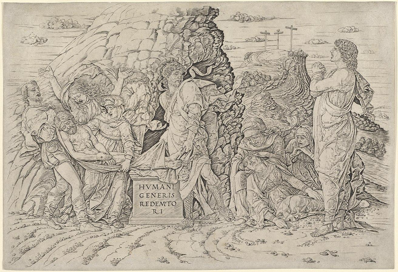 Andrea Mantegna, Deposizione di Cristo (anni Settanta del Quattrocento; incisione a bulino, 446 x 304 mm; Chiari, Pinacoteca Repossi)