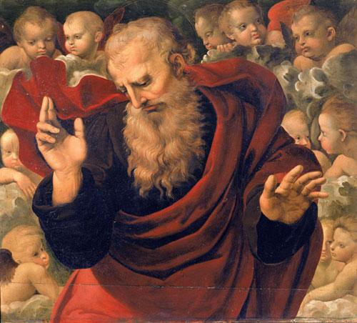 Domenico Alfani (attribuito), Eterno e angeli (olio su tavola, 64,5 x 72 cm; Perugia, Galleria Nazionale dell'Umbria)