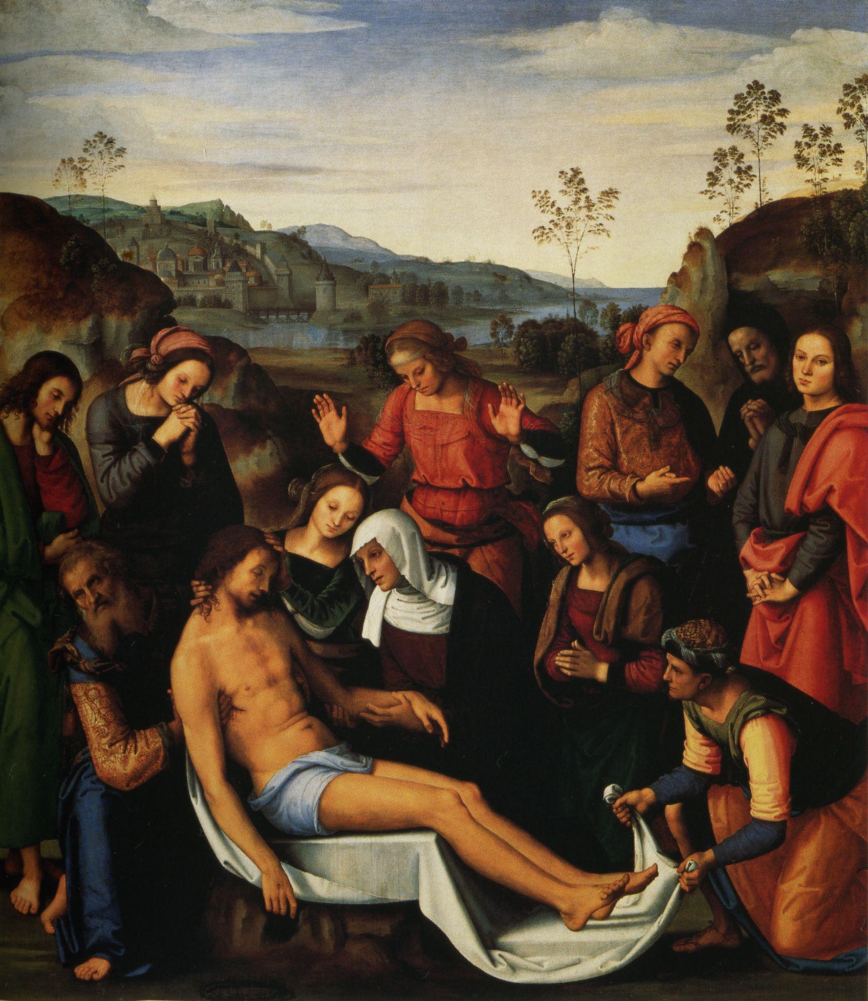 Perugino, Pietà (1495; olio su tavola, 220 x 195 cm; Firenze, Galleria Palatina di Palazzo Pitti)