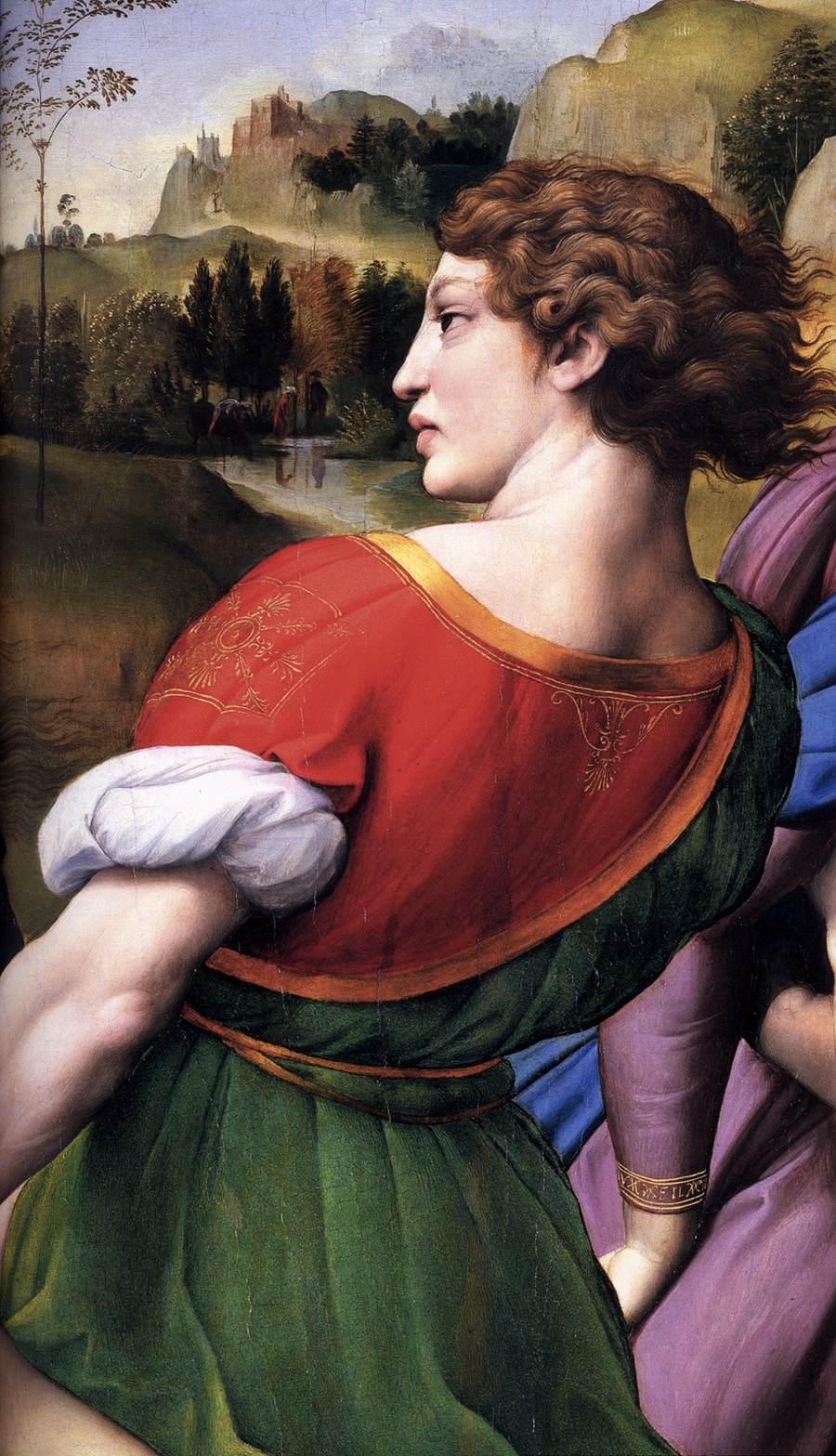 Dettaglio del giovane al centro, presunto ritratto di Grifonetto Baglioni
