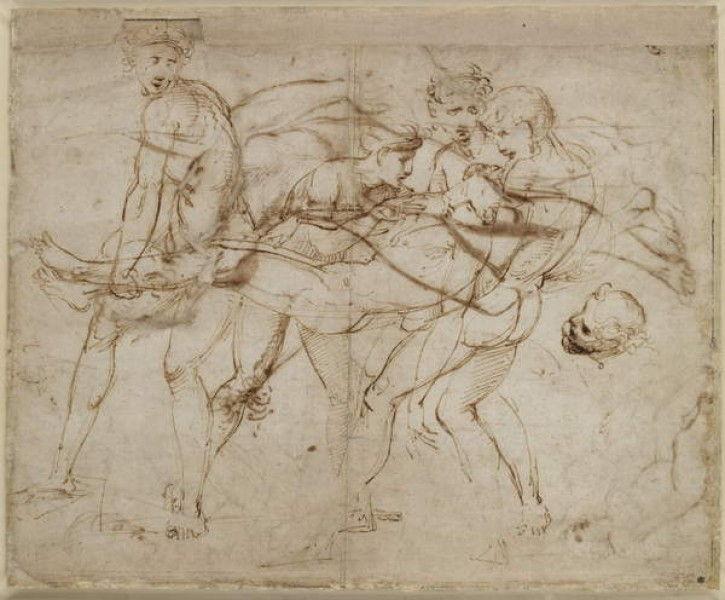 Raffaello, La morte di Meleagro (1507 circa; penna e inchiostro, punta di piombo, 271 x 332 mm; Oxford, The Ashmolean Museum)