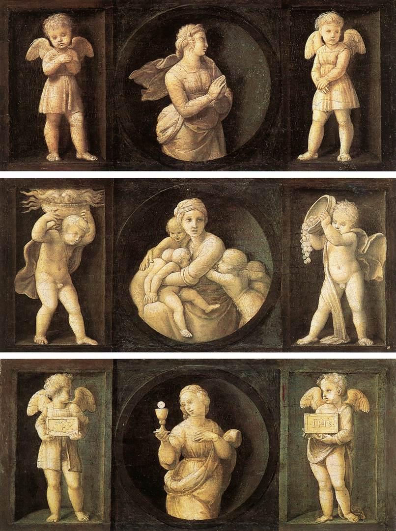 Raffaello Sanzio, Speranza, Carità, Fede, pannelli della predella Baglioni (1505-1507; olio su tavola, 16 x 44 cm; Città del Vaticano, Pinacoteca Vaticana)