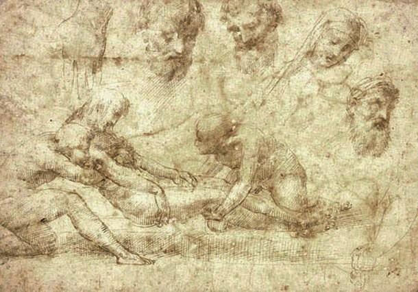 Raffaello Sanzio, Studio per la Deposizione Baglioni (1505-1506; penna, inchiostro e carboncino su carta; Oxford, Ashmolean Museum)