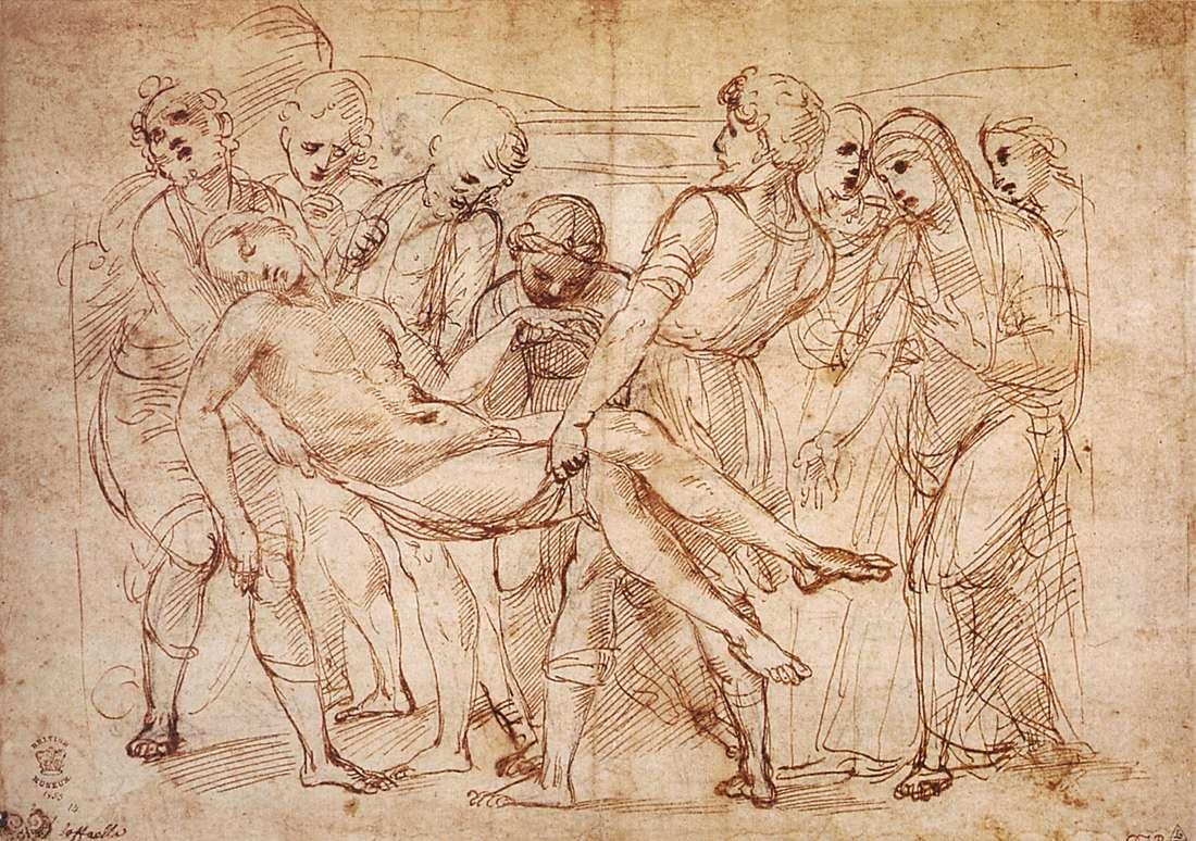 Raffaello Sanzio, Studio per la Deposizione Baglioni (1505-1506; penna, inchiostro e carboncino su carta, 230 x 319 mm; Londra, British Museum)