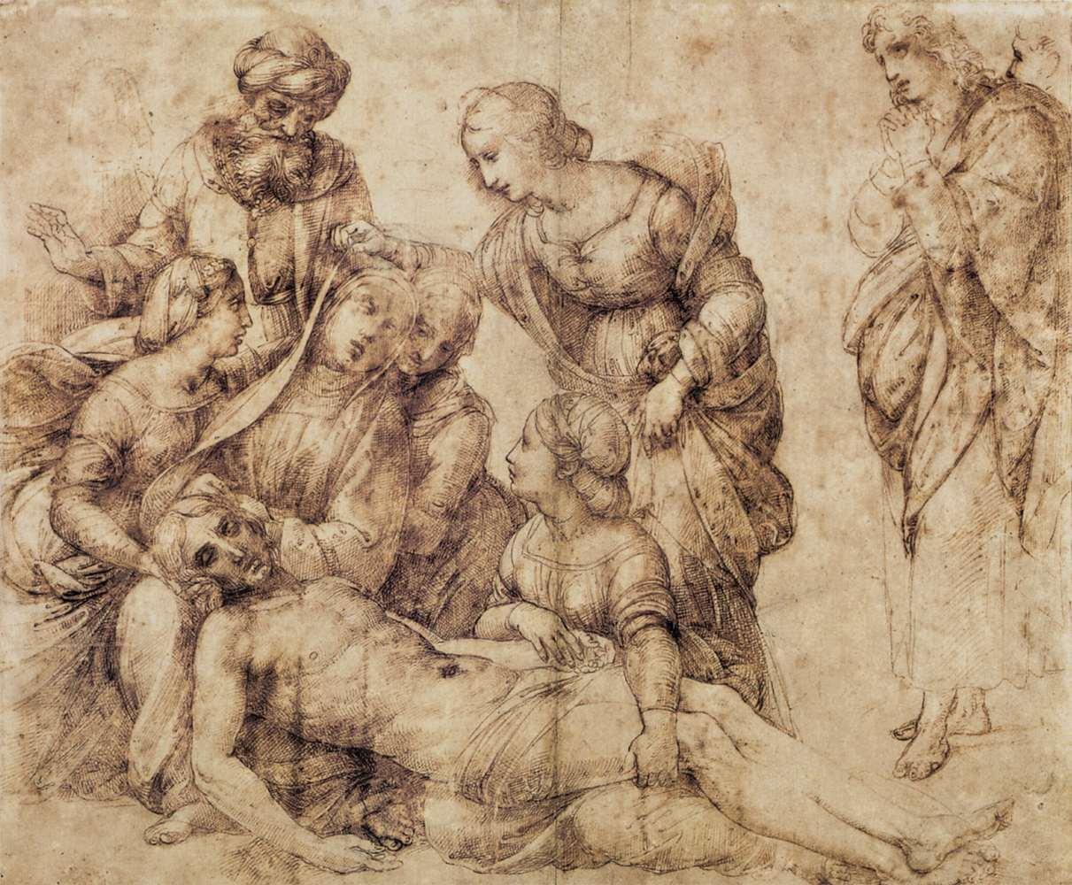 Raffaello, Studio per la Deposizione Baglioni (1505-1506; penna, inchiostro e carboncino su carta, 334 x 397 mm; Parigi, Louvre)