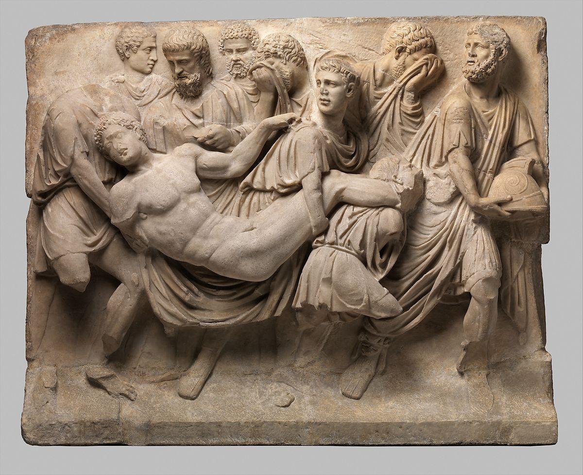 Arte romana, Frammento di sarcofago col trasporto del corpo di Meleagro (metà del II secolo d.C.; marmo lunense, 96,8 x 22,2 x 119,1 cm; New York, Metropolitan Museum)