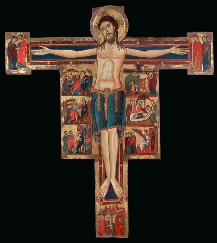 Maestro di Rosano, Croce dipinta (1120 circa; tempera su tavola; Rosano, Santa Maria Assunta)