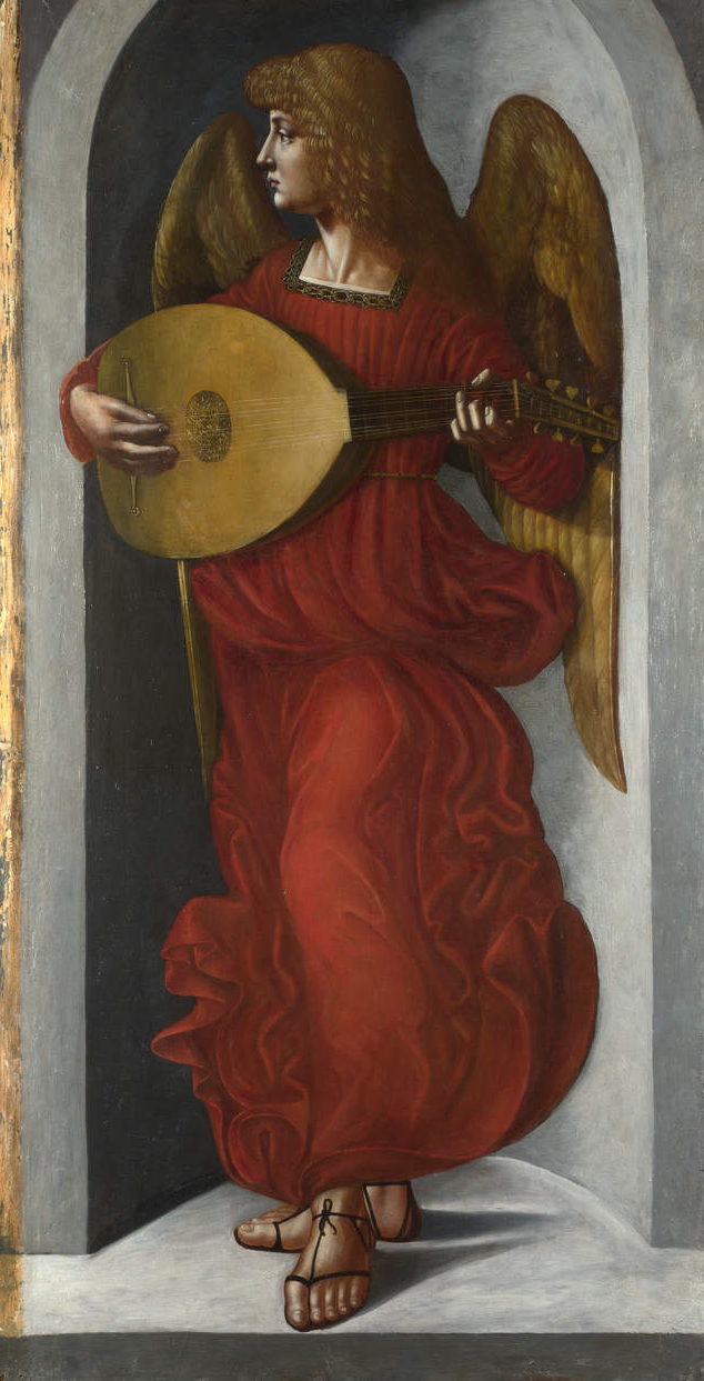 Giovanni Ambrogio de Predis, Angelo (1495-1500 circa; olio su tavola, 118,8 x 61 cm; Londra, National Gallery)