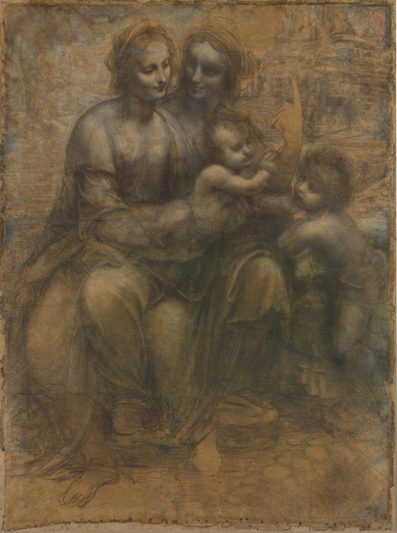 Leonardo da Vinci, Cartone di sant'Anna (1500-1505 circa; gessetto nero e biacca su carta, 1415 x 1046 mm; Londra, National Gallery)