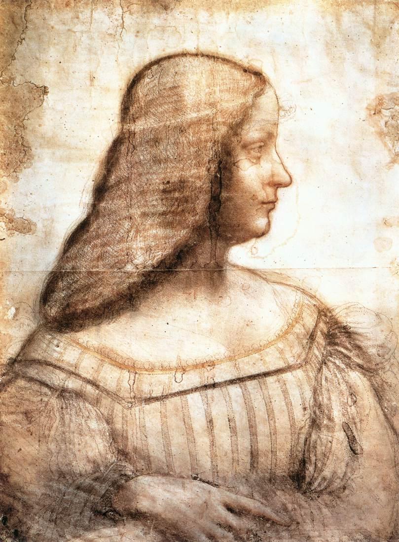 Leonardo da Vinci, Ritratto di Isabella d'Este (1495-1500 circa; carboncino, sanguigna e pastello su carta, 630 x 460 mm; Parigi, Louvre, Cabinet des Dessins)
