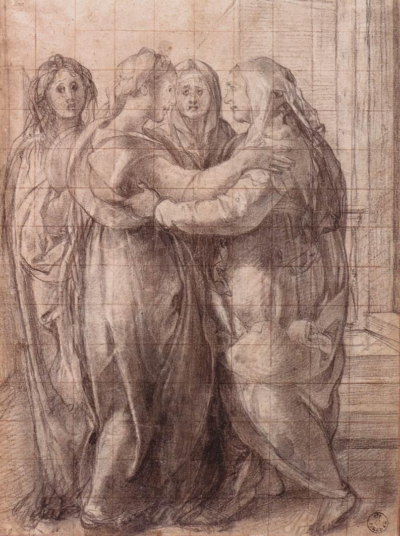 Pontormo, Visitazione (1528-1530 circa; pietra nera, tracce di gessetto bianco, quadrettatura a pietra rossa su carta, 326 x 240 mm; Firenze, Galleria degli Uffizi, Gabinetto dei Disegni e delle Stampe, inv. 461 F)
