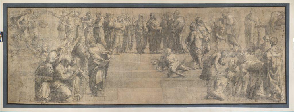 Raffaello, Cartone per la Scuola di Atene (1508; carta, carboncino e biacca, 285 x 804 cm; Milano, Pinacoteca Ambrosiana)
