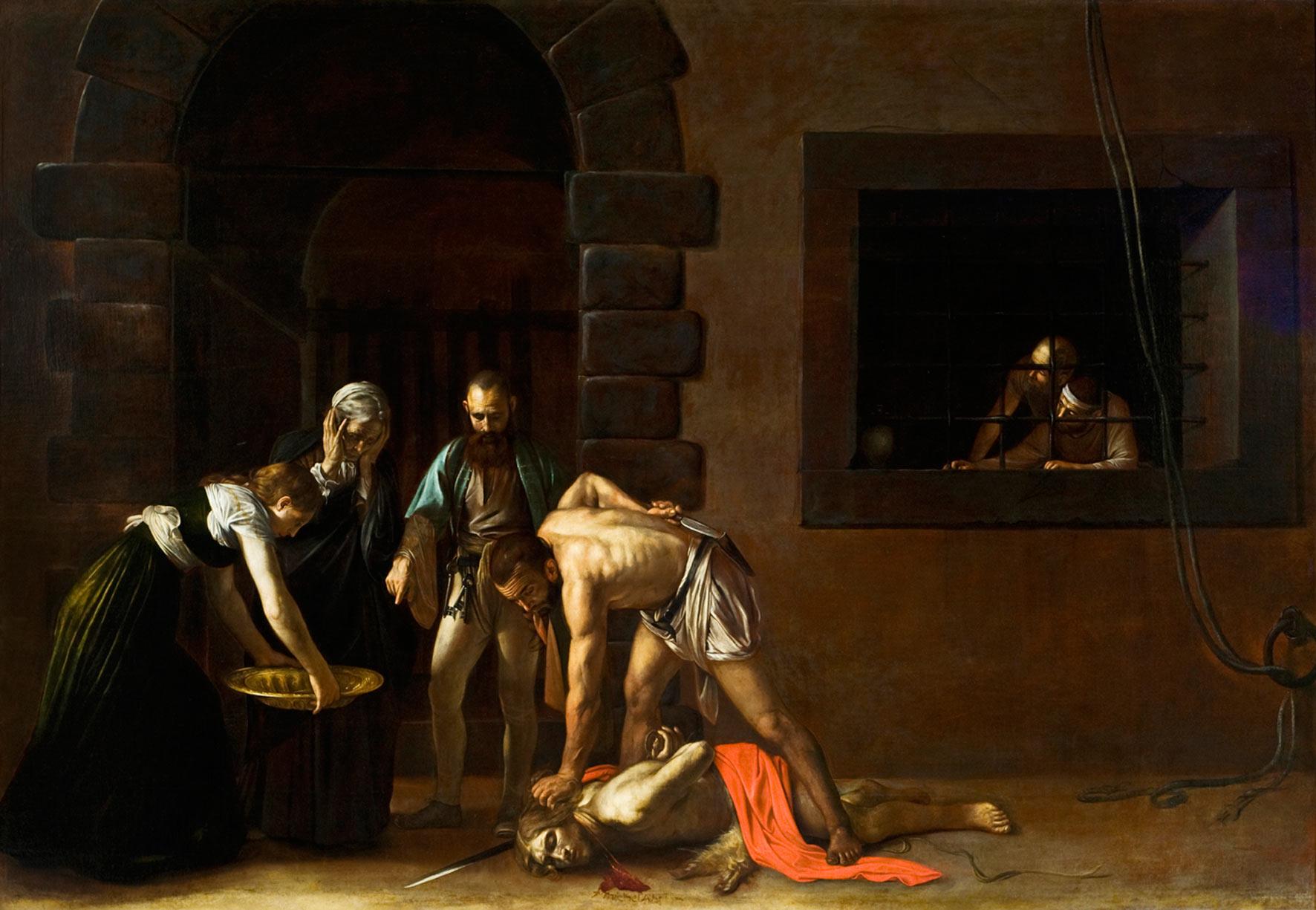 Caravaggio, Decollazione del Battista (1608; olio su tela, 361 x 520 cm; La Valletta, Concattedrale di San Giovanni)