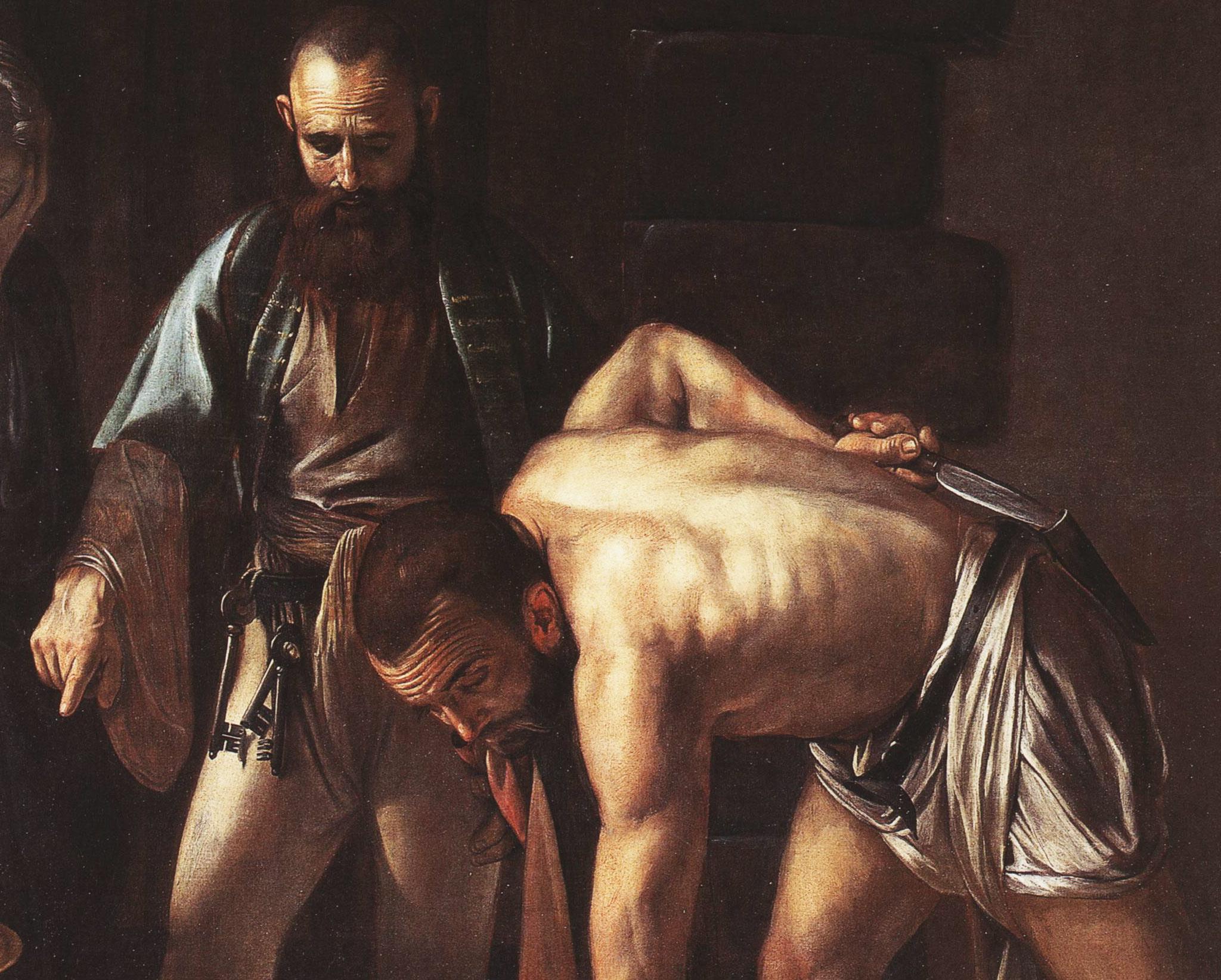 Caravaggio, Decollazione del Battista, dettaglio dell'aguzzino e del carceriere