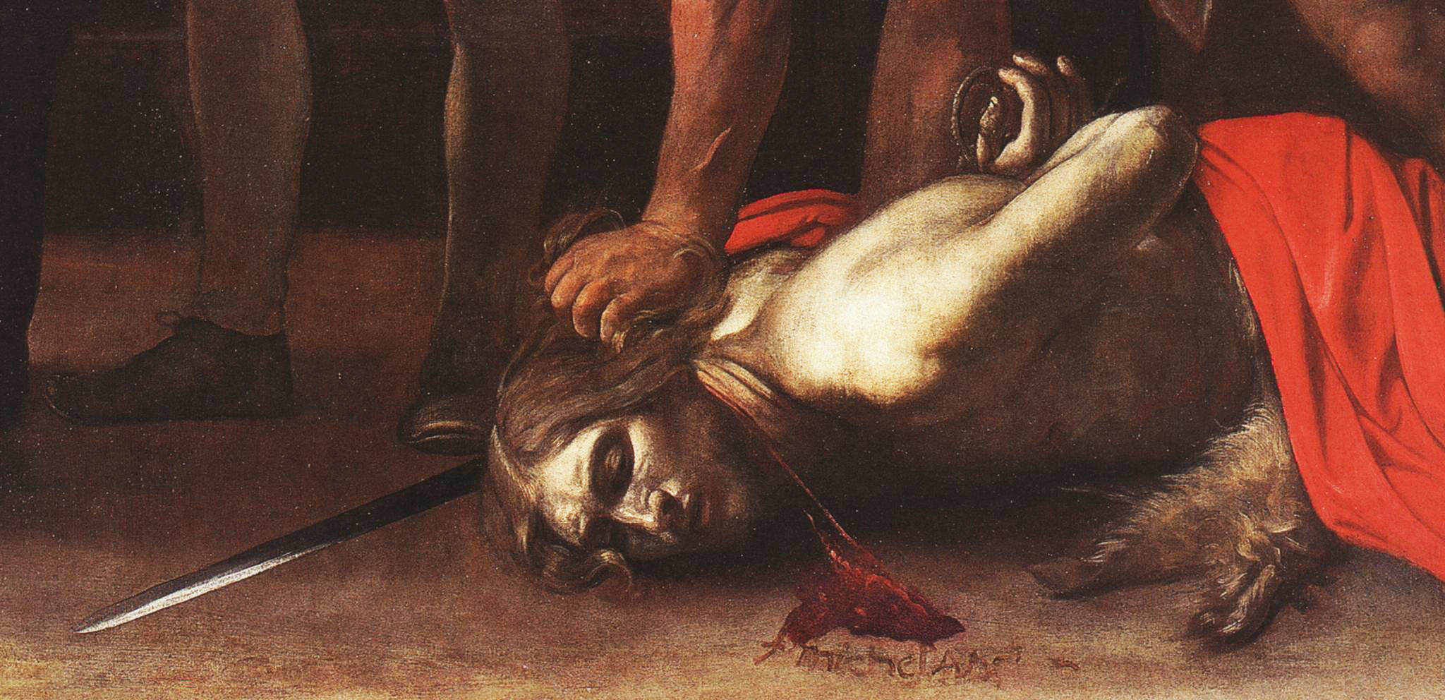Caravaggio, Decollazione del Battista, dettaglio del Battista con la firma di Caravaggio
