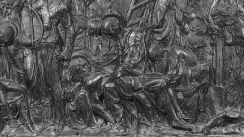 Donatello, Compianto, dettaglio, dal Pulpito della Passione (post 1460; bronzo, 137 x 280 cm; Firenze, San Lorenzo)