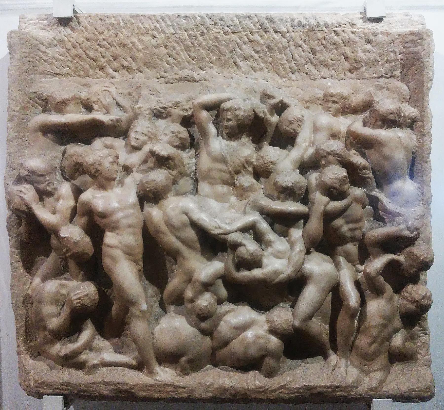 Michelangelo, Battaglia dei centauri (1490-1492 circa; marmo, 80,5 x 88 cm; Firenze, Casa Buonarroti, inv. 194)