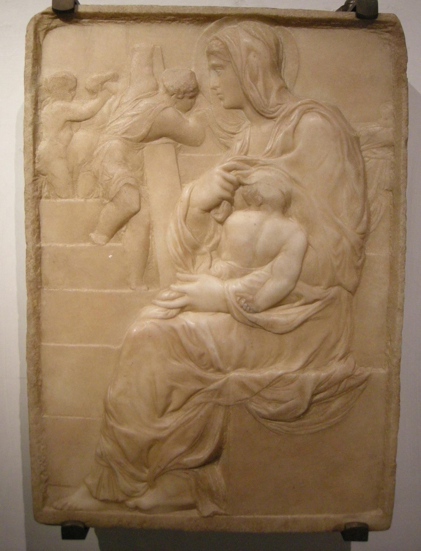 Michelangelo, Madonna della Scala (1490 circa; marmo, 56,7 x 40,1 cm; Firenze, Casa Buonarroti, inv. 190)