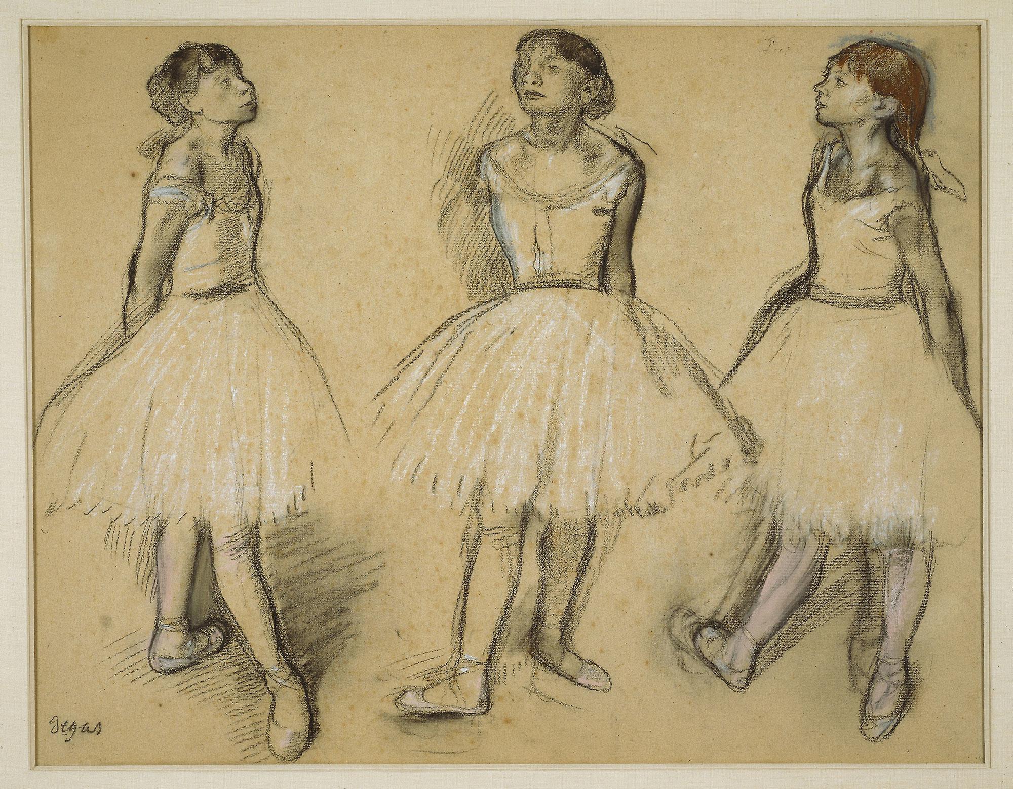 Edgar Degas, Tre studi di una ballerina in quarta posizione (1879-80; carboncino e pastello su carta, 48 x 61,6 cm; Chicago, Art Institute)