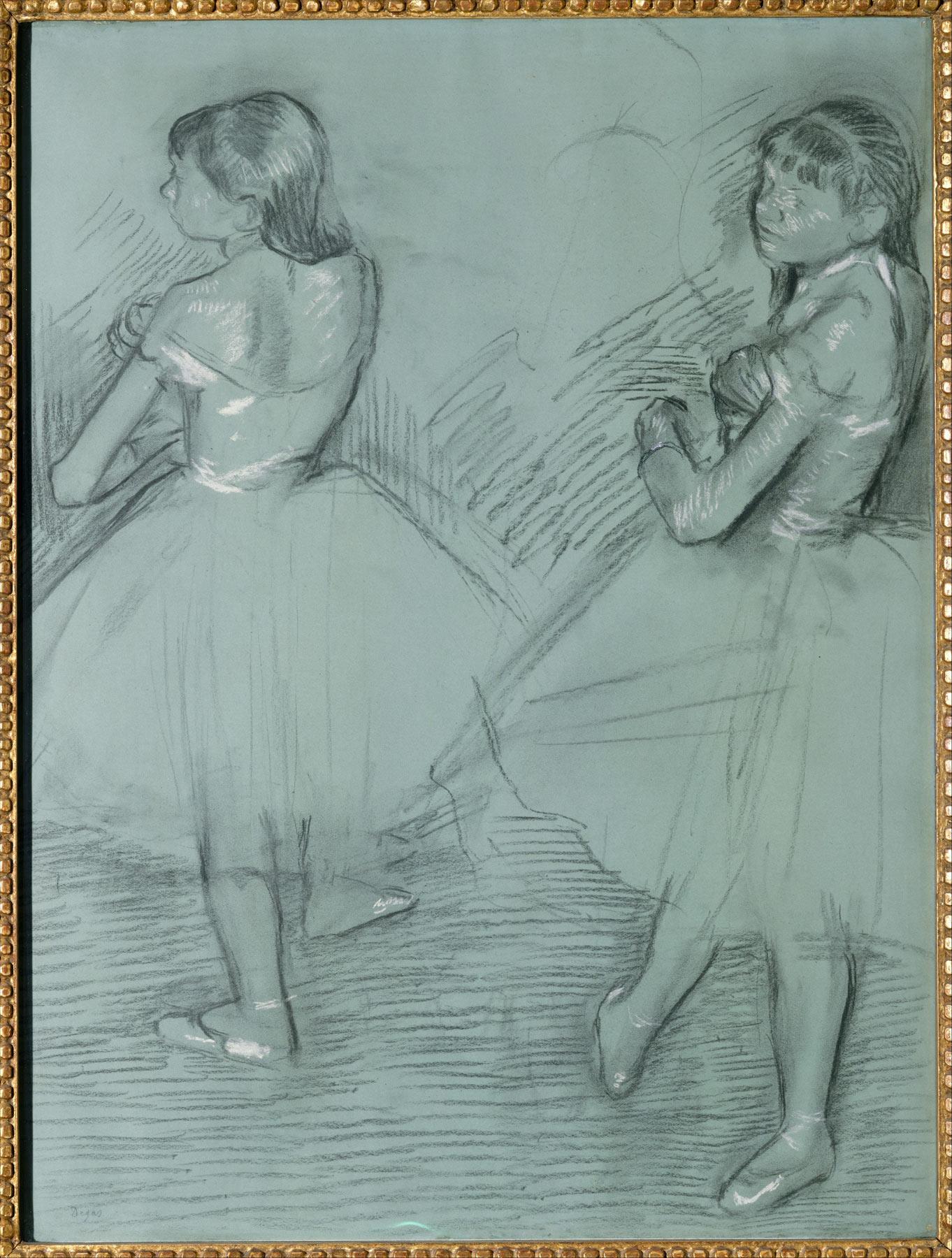 Edgar Degas, Due ballerine (1879 circa; carboncino e gesso bianco su carta patinata, 63,8 x 48,9 cm; New York, Metropolitan Museum)