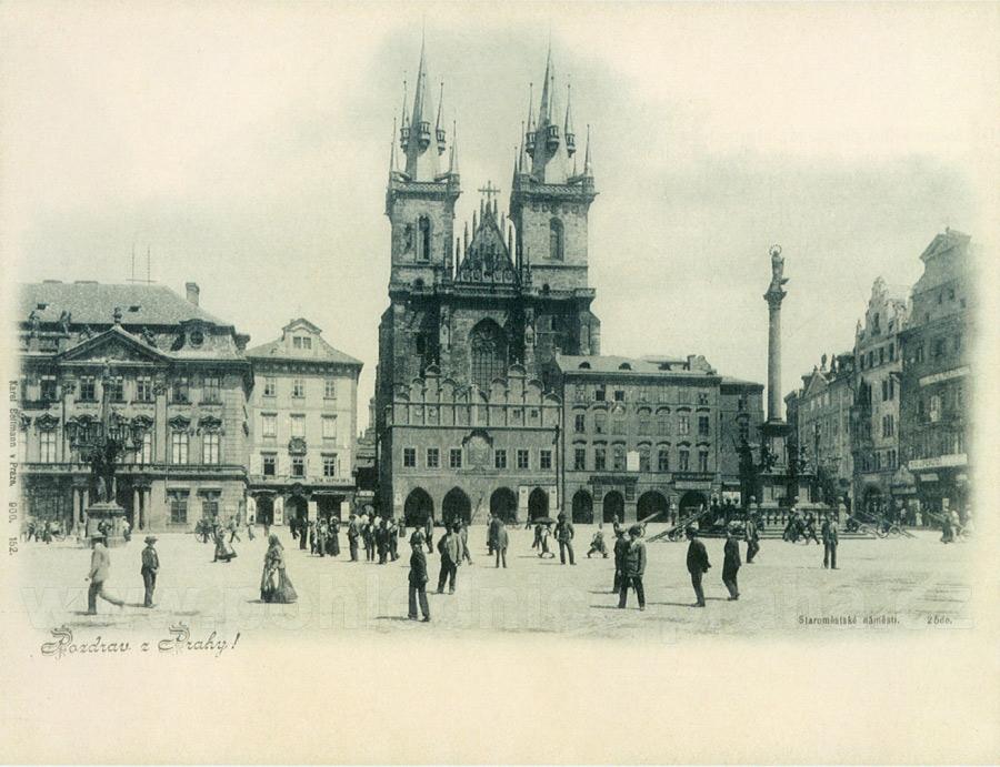 Staroměstské náměstí (Piazza della Città Vecchia) in una cartolina del 1900 pubblicata dall'editore Koppe-Bellmann