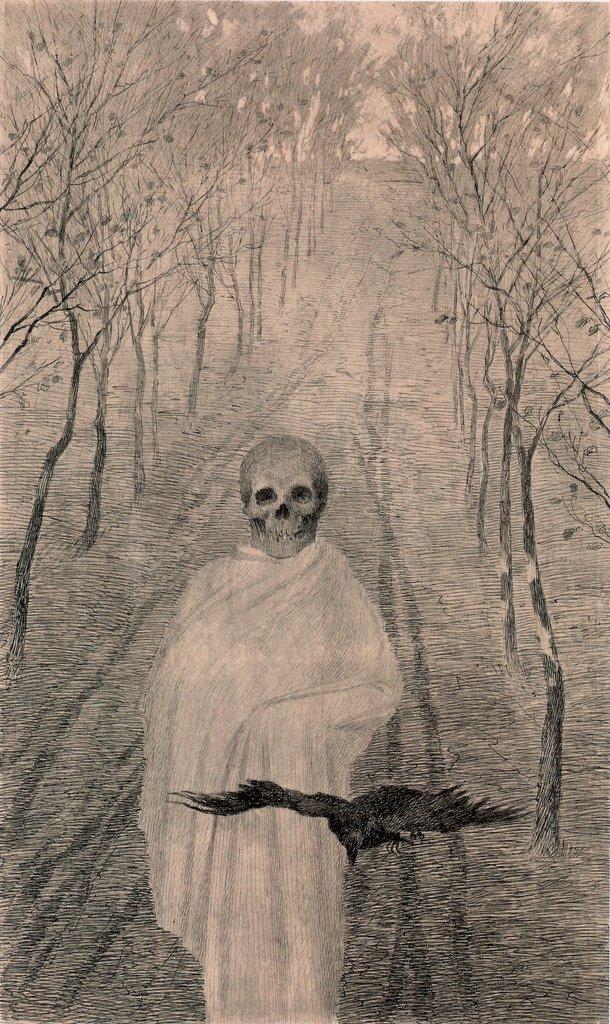 Jaroslav Panuška, Smrt v aleji (La morte nel vicolo) (1900; matita su carta, 410 x 250 mm; Praga, Národní Galerie)