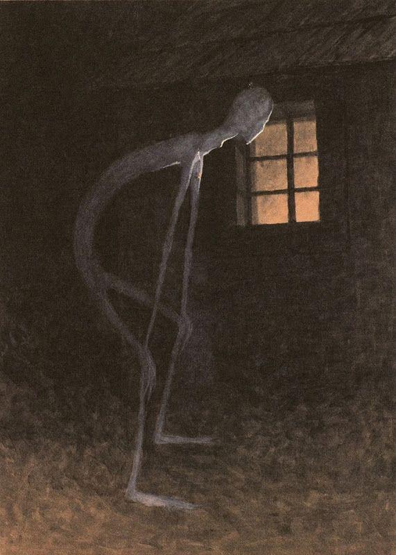 Jaroslav Panuška, Smrtka nahlížející do okna umírajícího (Il triste mietitore guarda nella finestra di un moribondo) (1900; acquerello su carta, 460 x 350 mm; Praga, Národní Galerie)