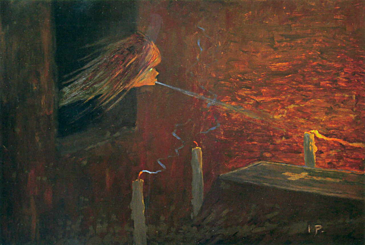 Jaroslav Panuška, Upiři (Vampiri) (1900 circa; matita su carta, 240 x 550 mm; Collezione privata)