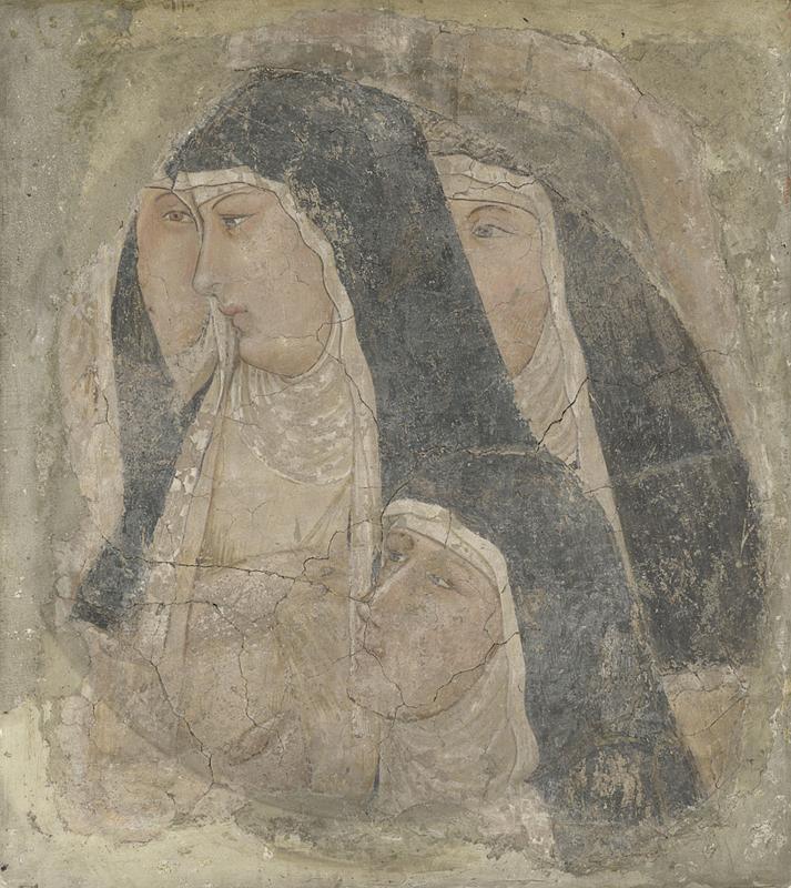 Ambrogio Lorenzetti, Teste di clarisse (primi anni Venti del XIV secolo; affresco staccato, 70,4 x 63,4 cm; Londra, National Gallery)