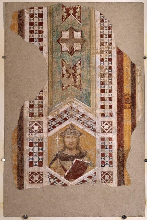 Ambrogio Lorenzetti, Re Salomone, (primi anni Venti del XIV secolo; affresco distaccato e applicato su supporto di vetroresina, 133 x 93 cm; Siena, Museo Diocesano di Arte Sacra)