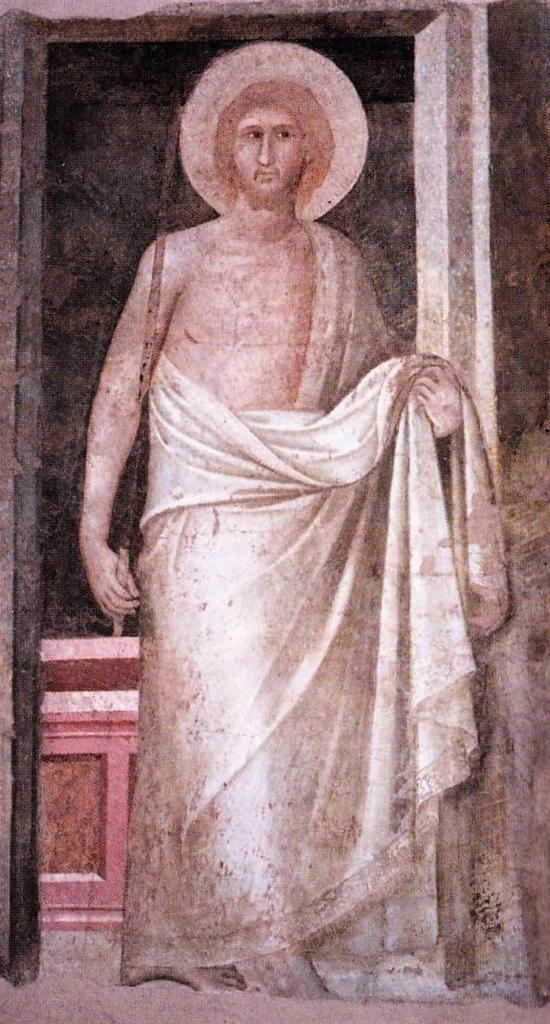 Pietro Lorenzetti, Cristo risorto (primi anni Venti del XIV secolo; affresco; Siena, Museo Diocesano di Arte Sacra)