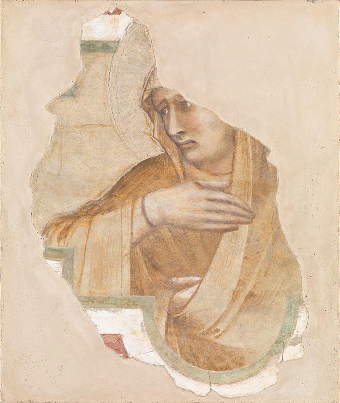 Pietro Lorenzetti, Vergine dolente (primi anni Venti del XIV secolo; affresco staccato, 39 x 30 cm; Londra, National Gallery)