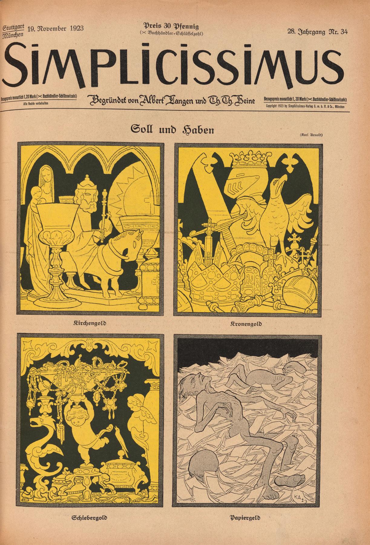 Karl Arnold, Sold und haben (copertina della rivista Simplicissimus del 19 novembre 1923)