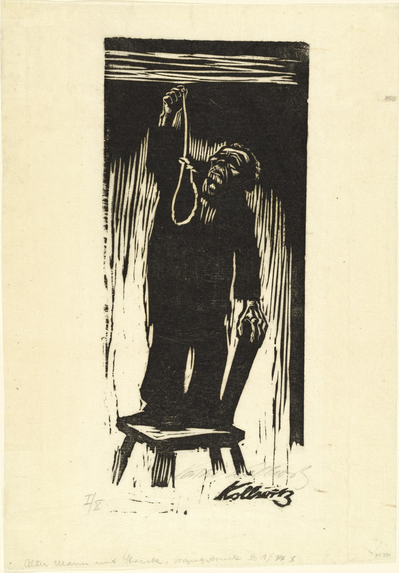 Käthe Kollwitz, Das Letzte (1924; xilografia, 29,4 x 12,8 cm; New York, The Metropolitan Museum)