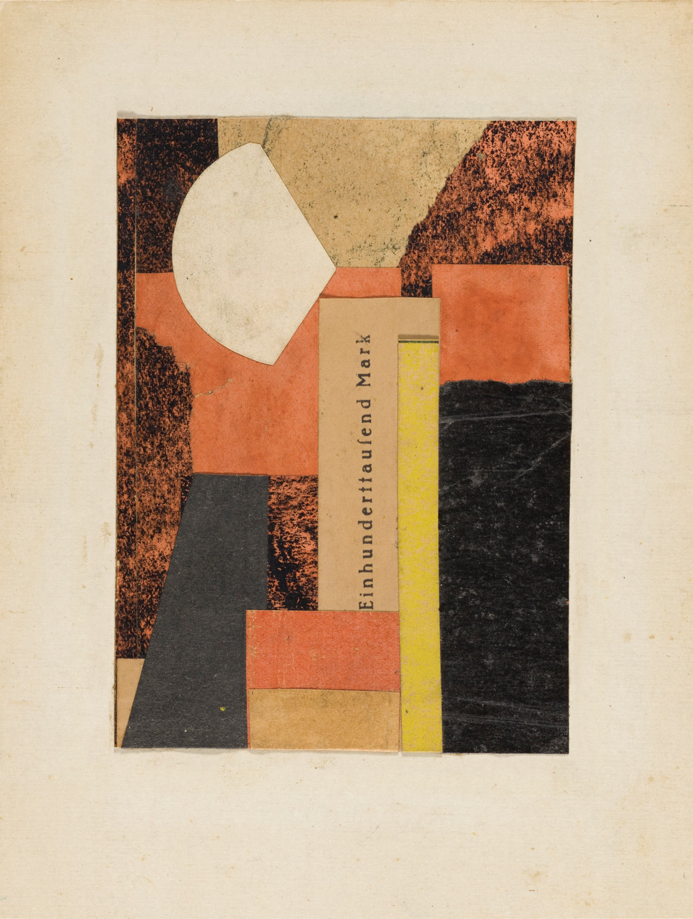 Kurt Schwitters, Untitled (One Hundred Thousand Marks) (1925 circa; collage su carta, 12 x 9 cm; Los Angeles, Los Angeles County Museum of Art)