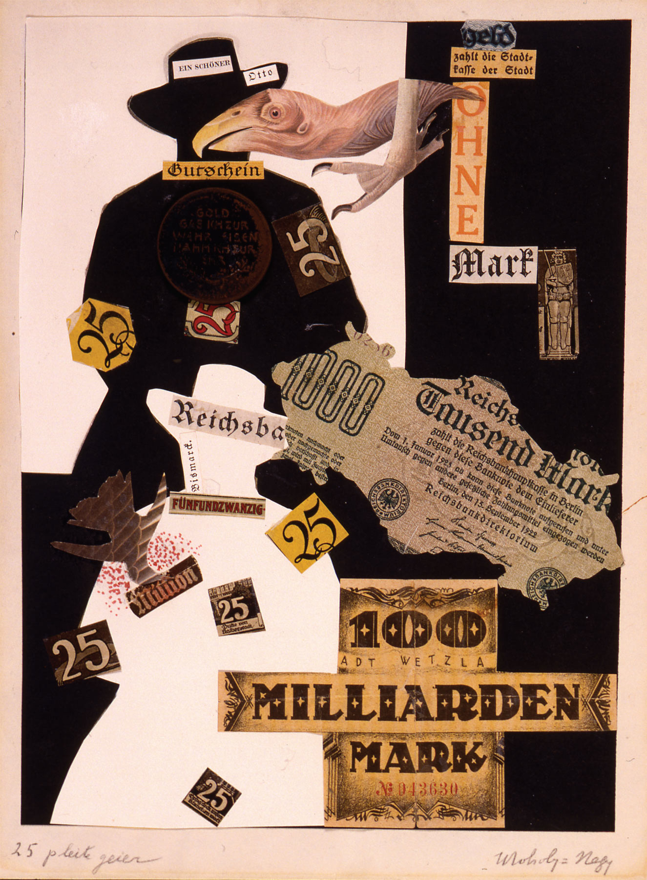 László Moholy-Nagy, 25 Pleitegeier (1922–23; collage su carta, 30 x 23 cm; Gerusalemme, The Vera and Arturo Schwarz Collection of Dada and Surrealist Art in the Israel Museum)