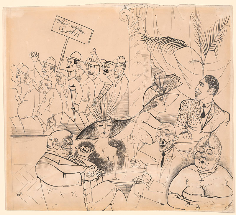 Otto Dix, Wir wollen Brot! (1923; matita e inchiostro su carta, 38,7 x 42,6 cm; New York, The Morgan Library)