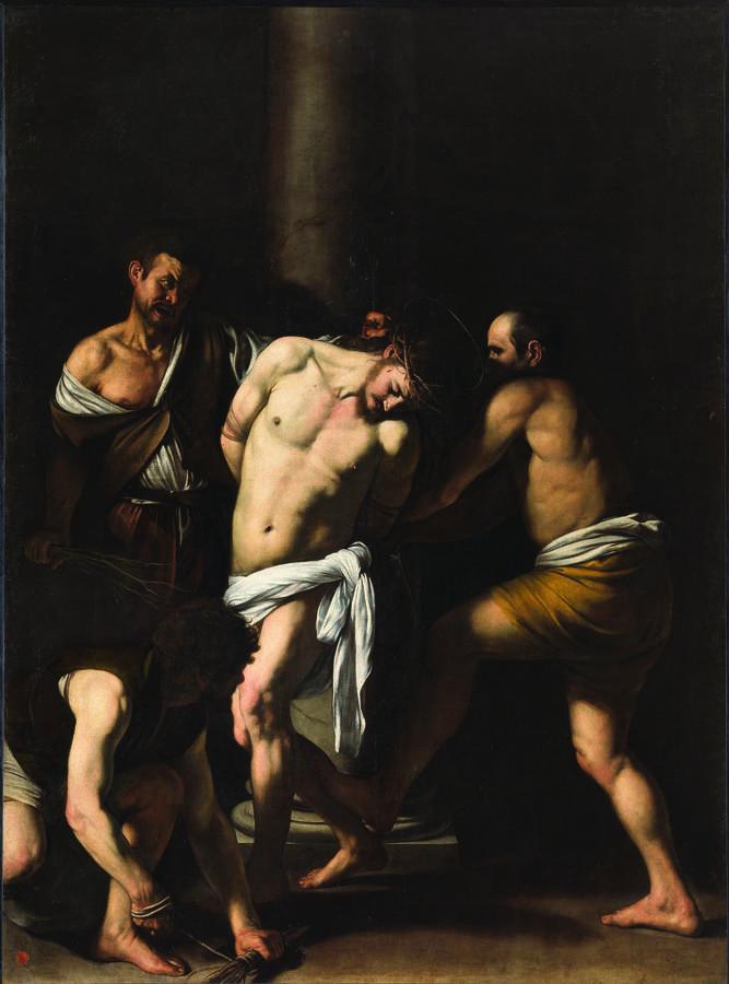 Michelangelo Merisi, Flagellazione di Cristo (1607; olio su tela, 286 x 213 cm, Napoli, Museo di Capodimonte)