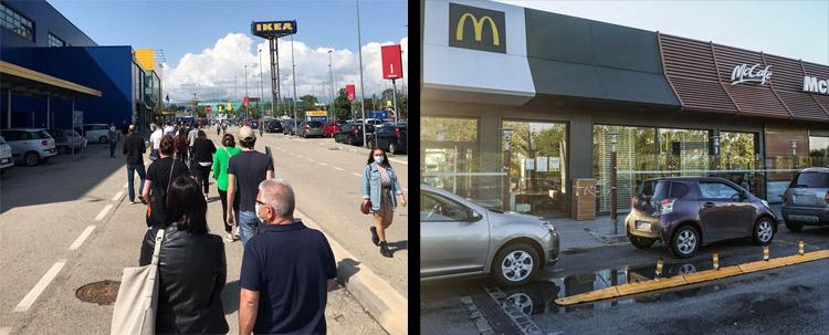 Code all'Ikea di Brescia e al McDonald's di Padova