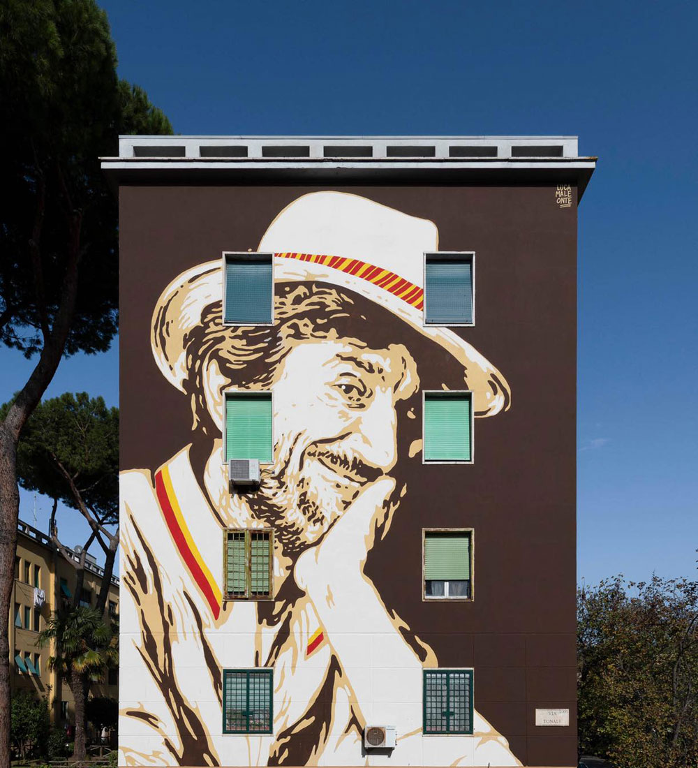 Roma, inaugurato al Tufello il nuovo grande murale dedicato a Proietti