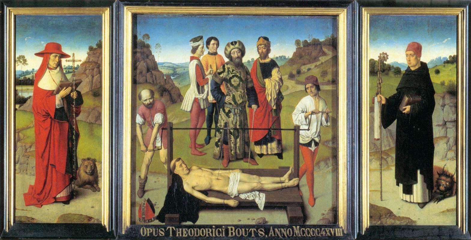 Dieric Bouts, Trittico di sant'Erasmo (1468; olio su tavola, 34 x 148 cm; Lovanio, chiesa di San Pietro)