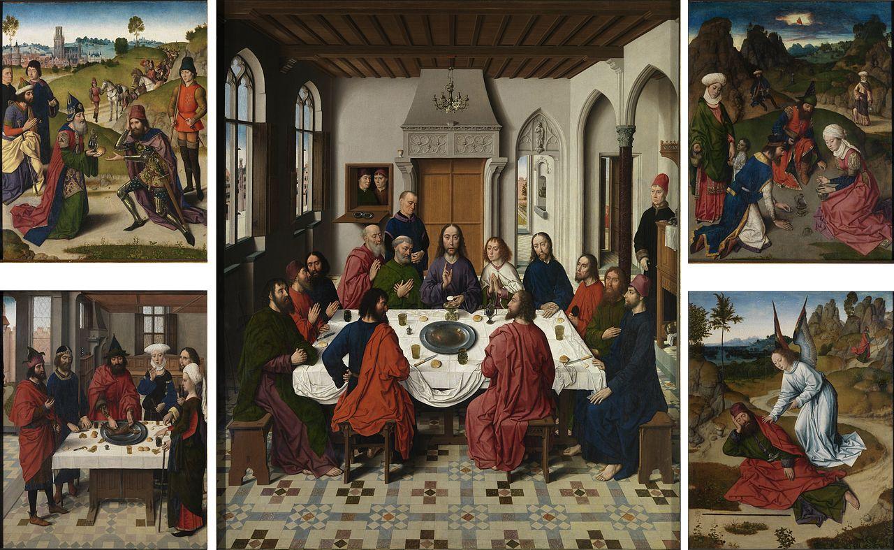 Dieric Bouts, Ultima cena (1464-1468; olio su tavola, 88 x 71 cm; Lovanio, chiesa di San Pietro)