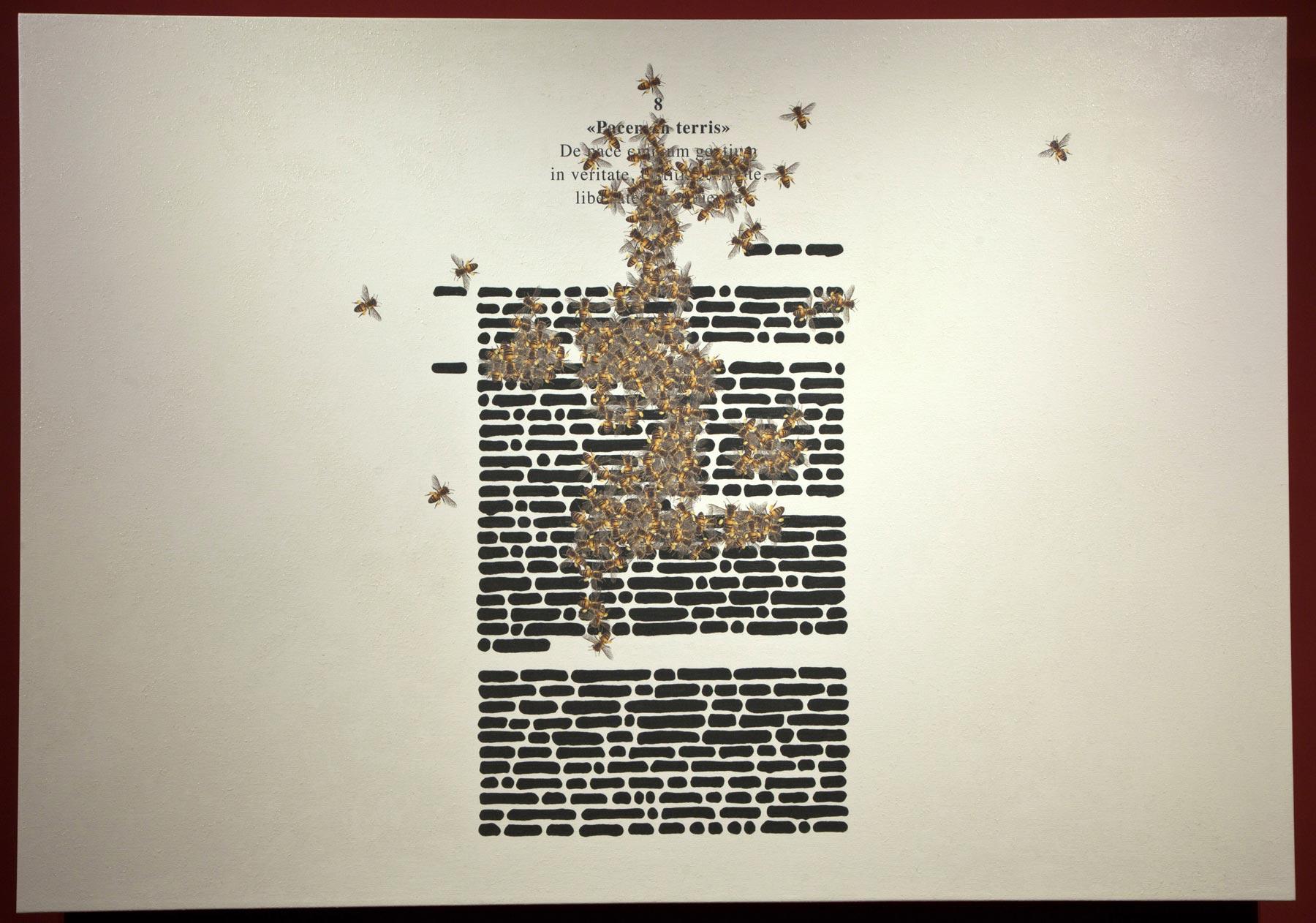 Emilio Isgrò, Pacem in terris (2019; tecnica mista su tela, 140 x 200 cm)
