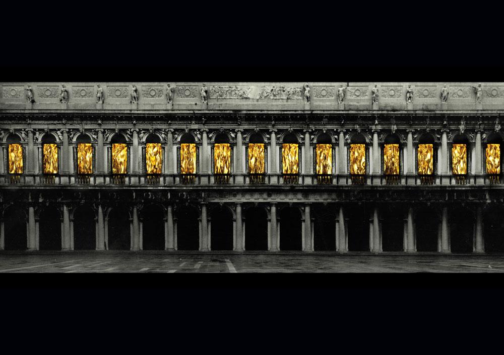 Venezia, cascate d'oro dalle finestre del Museo Correr. Dopo vent'anni torna Fabrizio Plessi