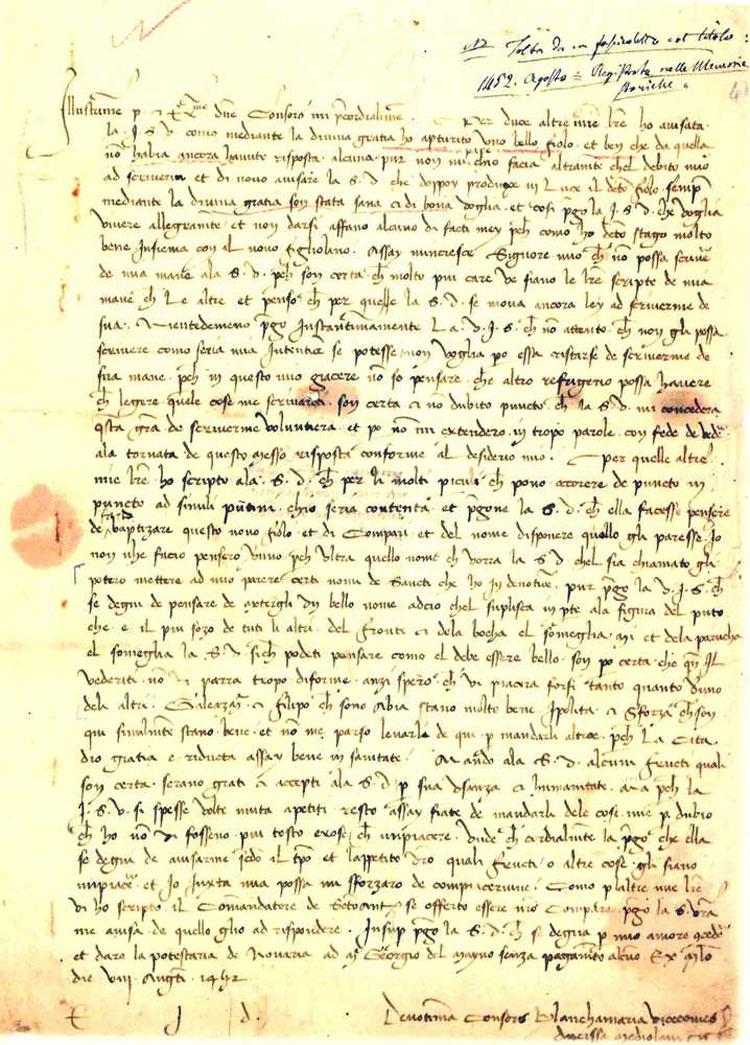 Come apprese Francesco Sforza la nascita di suo figlio Ludovico? L'Archivio di Stato di Milano mostra la lettera