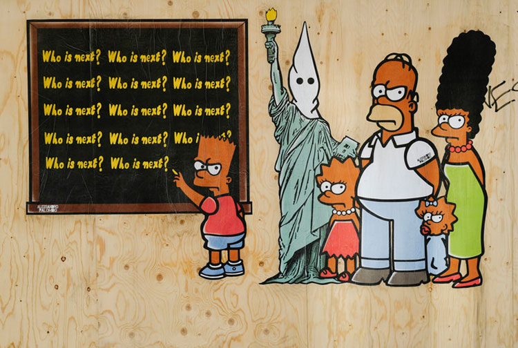 Street art: a Milano i Simpson in versione afroamericana in omaggio a George Floyd